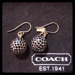 Coach Pave Ball Drop Earrings - Gold and Black